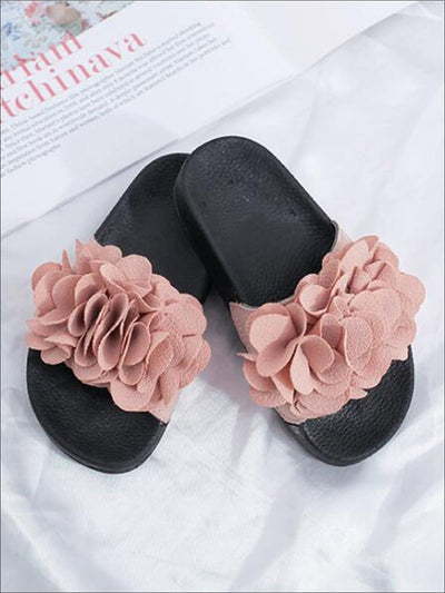 Girls Spring Floral Applique Slip On Sandals - Pink / 1 - Girls Sandals