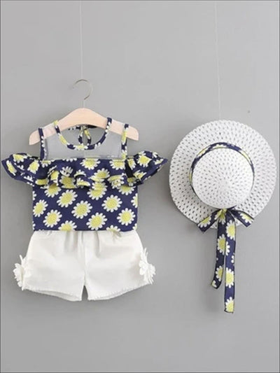 Girls Spring Floral Print Tunic & White Shorts Set with Matching Hat - Blue / 2T - Girls Spring Casual Set