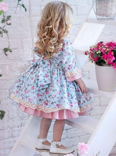 Girls Spring Floral Print Vintage Style Baby-Doll Dress - Blue / 2T - Girls Spring Dressy Dress