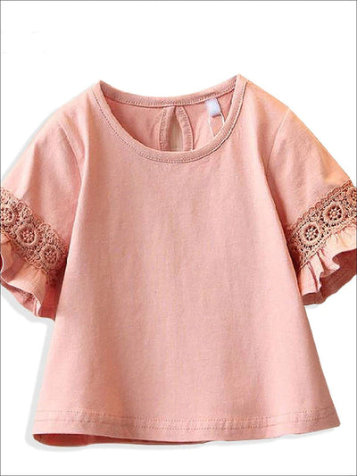 Girls Spring Lace Embroidered Flare Sleeve Top - Girls Spring Top