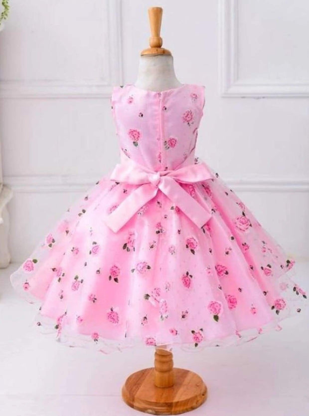 Girls Spring Roses Print Party Dress ( 2 colors option) - Girls Spring Dressy Dress