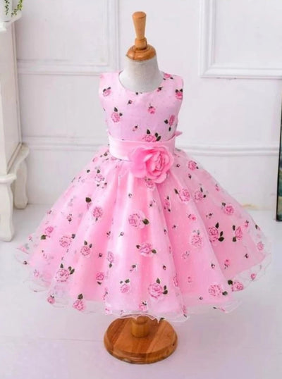 Girls Spring Roses Print Party Dress ( 2 colors option) - pink / 3T - Girls Spring Dressy Dress