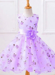 Girls Spring Roses Print Party Dress ( 2 colors option) - purple / 3T - Girls Spring Dressy Dress