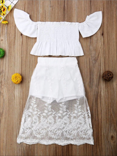 Girls Spring Ruffled Off Shoulder Top & Short Set With Maxi Lace Overlay Skirt - White / 2T - Girls Spring Casual Set