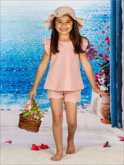 Girls Spring Ruffled Sleeve Tunic & Scalloped Shorts Set - Pink / 2T/3T - Girls Spring Casual Set