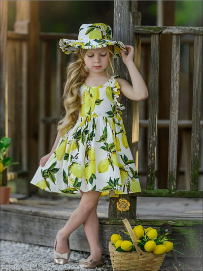 Girls Spring Sleeveless Floral Print Sun Dress with Matching Hat - Girls Spring Casual Dress
