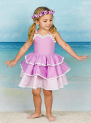 Girls Spring Sleeveless Lace Trim Tiered Ruffle Dress - Girls Spring Casual Dress