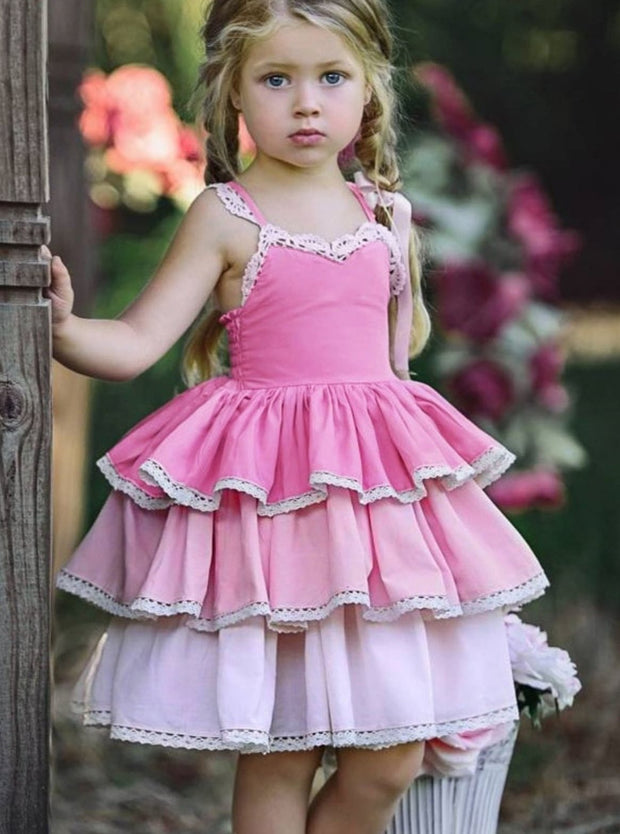 Girls Spring Sleeveless Lace Trim Tiered Ruffle Dress - Pink / 2T - Girls Spring Casual Dress