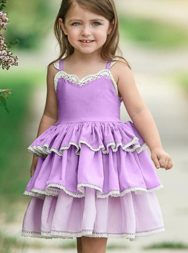 Girls Spring Sleeveless Lace Trim Tiered Ruffle Dress - Purple / 2T - Girls Spring Casual Dress