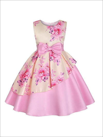 Girls Spring Sleeveless Tiered A-Line Floral Dress - Yellow / 2T - Girls Spring Dressy Dress