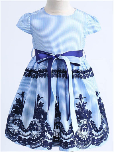 Girls Spring Striped Embroidered Bow Dress - Blue / 2T - Girls Spring Dressy Dress