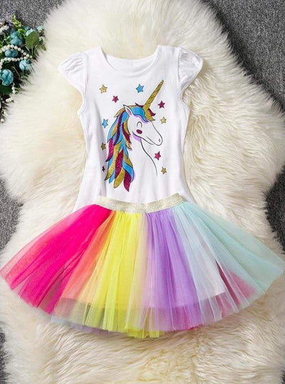 Girls Spring & Summer Unicorn Themed Tutu Dress & Set Outfit (5 Styles) - Girls Spring Casual Set
