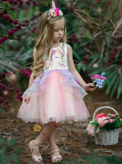 Girls Spring Unicorn Embroidered Tiered Ruffle Tutu Dress - Pink / 2T - Girls Spring Dressy Dress