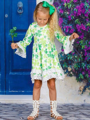 Girls St. Patricks Day Clover Flared Sleeve Crochet 2-Tier Dress - Girls St. Patricks Dress