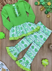 Girls St. Patricks Day Geometric Clover Print Ruffled Long Sleeve Tunic & Flared Leggings Set - Green / S-3T - Girls St. Patricks Set