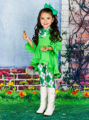 Girls St. Patricks Day Long Sleeve Hi-Lo Ruffled Tunic Argyle Print Leggings & Scarf Set - Girls St. Patricks Set