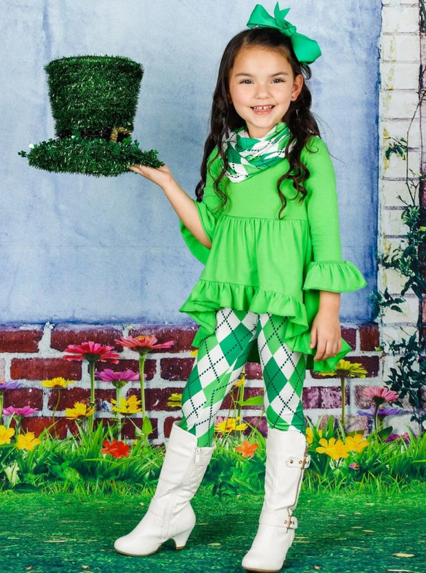Girls St. Patricks Day Long Sleeve Hi-Lo Ruffled Tunic Argyle Print Leggings & Scarf Set - Green / XS-2T - Girls St. Patricks Set