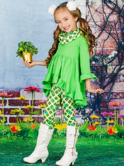 Girls St. Patricks Day Long Sleeve Hi-Lo Ruffled Tunic Clover Print Leggings & Scarf Set - Green / S-3T - Girls St. Patricks Set