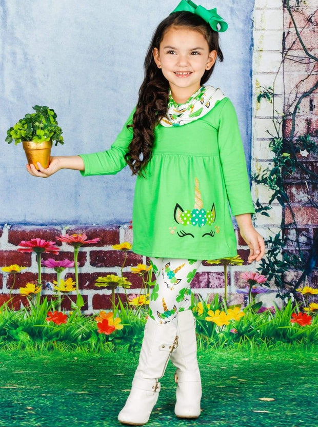 Girls St. Patricks Day Long Sleeve Unicorn Tunic Unicorn Clover Print Leggings & Scarf Set - Girls St. Patricks Set