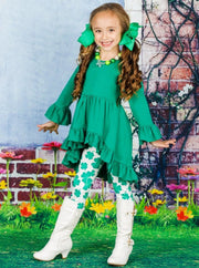 Girls St. Patricks Day Ruffled Hi-Lo Tunic & Leggings Set - Girls St. Patricks Set