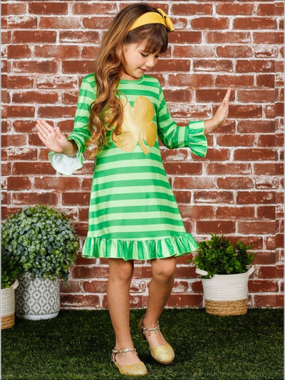 Girls St. Patricks Day Striped Long Sleeve Ruffled Gold Clover Dress - Girls St. Patricks Dress