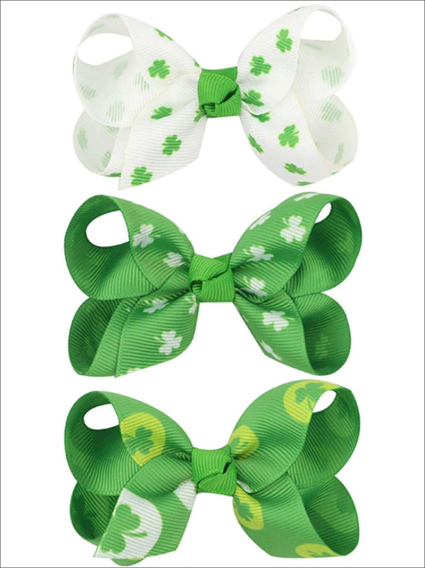 Girls St. Patricks Day Themed Bow Hair Clips - Girls Hair Accessories