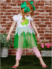 Girls St. Patricks Day Themed Bow Sequin Tutu Tunic & Polka Dot Leggings Set - Girls St. Patricks Set