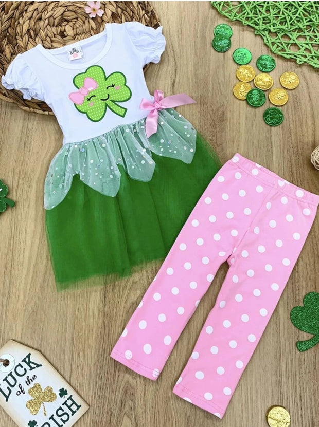 Girls St. Patricks Day Themed Bow Sequin Tutu Tunic & Polka Dot Leggings Set - Green / S-3T - Girls St. Patricks Set