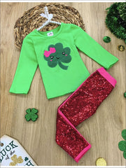 Girls St. Patricks Day Themed Clover Applique Top & Sequin Leggings Set - Green / 4T - Girls St. Patricks Set