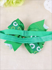 Girls St. Patricks Day Themed Elastic Bow Headband - Girls Hair Accessories