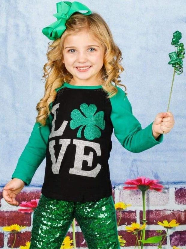 Girls St. Patricks Day Themed Long Sleeve Shiny Clover Love Top - Girls Spring Top