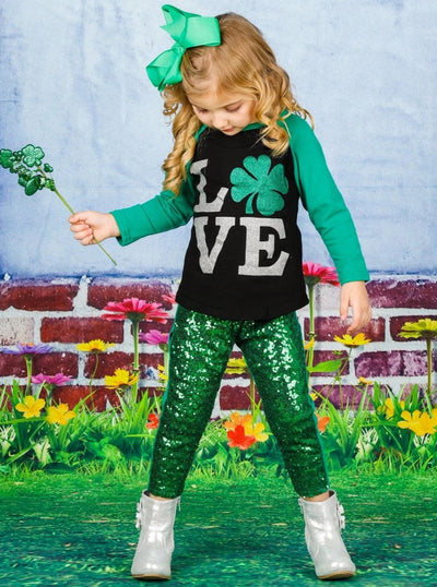 Girls St. Patricks Day Themed Long Sleeve Shiny Clover Love Top - Black / XS-2T - Girls Spring Top