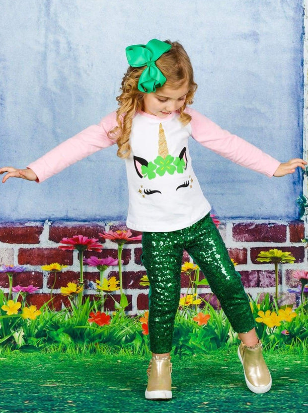 Girls St. Patricks Day Themed Long Sleeve Shiny Unicorn Clover Top - Girls Spring Top