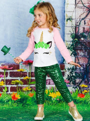 Girls St. Patricks Day Themed Long Sleeve Shiny Unicorn Clover Top - Pink / XS-2T - Girls Spring Top
