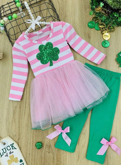 Girls St. Patricks Day Themed Long Sleeve Tutu Tunic with Sequin Clover Applique & Bow Leggings Set - Pink / 2T - Girls St. Patricks Set