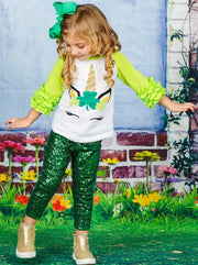 Girls St. Patricks Day Themed Shiny Unicorn Clover Ruffled Long Raglan Sleeve Top - Girls Spring Top