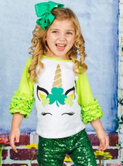 Girls St. Patricks Day Themed Shiny Unicorn Clover Ruffled Long Raglan Sleeve Top - Green / XS-2T - Girls Spring Top