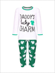 Girls St. Patricks Day Themed White Long Sleeve Printed Top & Green Clover Print Leggings Set - Girls St. Patricks Set