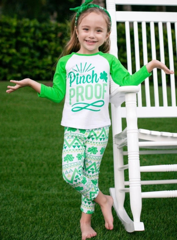 Girls St. Patricks Long Sleeve Pinch Proof Print Top & Geometric Clover Print Leggings Set - Girls St. Patricks Set