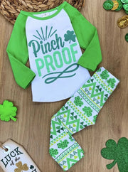Girls St. Patricks Long Sleeve Pinch Proof Print Top & Geometric Clover Print Leggings Set - Green & White / 2T - Girls St. Patricks Set