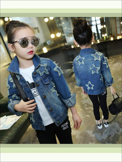Girls Star Patch Denim Jacket - Girls Denim Jackets