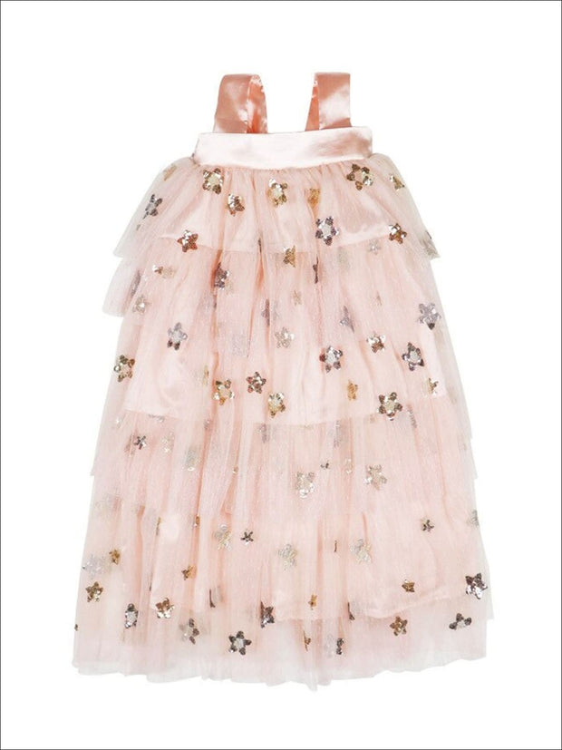 Girls Stars Tiered Sleeveless Tutu Dress - Pink / 12M - Girls Spring Casual Dress