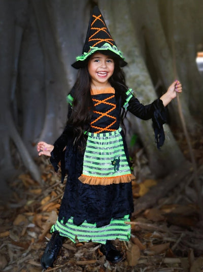 Girls Storybook Deluxe Velvet Witch Halloween Costume ( 2 Color Options) - Green / 3T/4T - Girls Halloween Costume