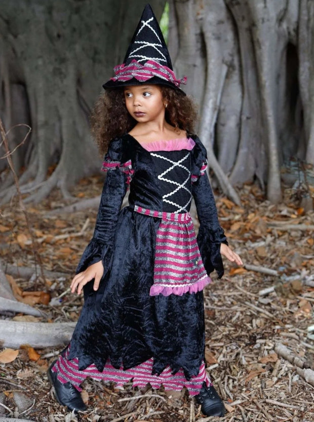 Girls Storybook Deluxe Velvet Witch Halloween Costume ( 2 Color Options) - Pink / 3T/4T - Girls Halloween Costume