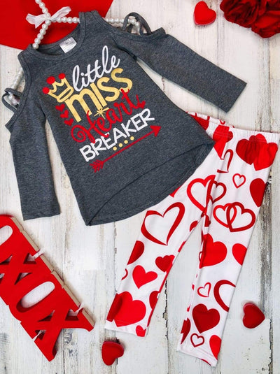 Girls Strappy Cold Shoulder Little Miss Heart Breaker Top & Heart Leggings - Grey / 2T - Girls Fall Casual Set