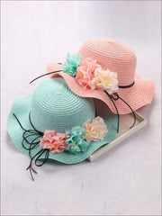 Girls Straw Floral Bow Knot Hat - Hats & Caps