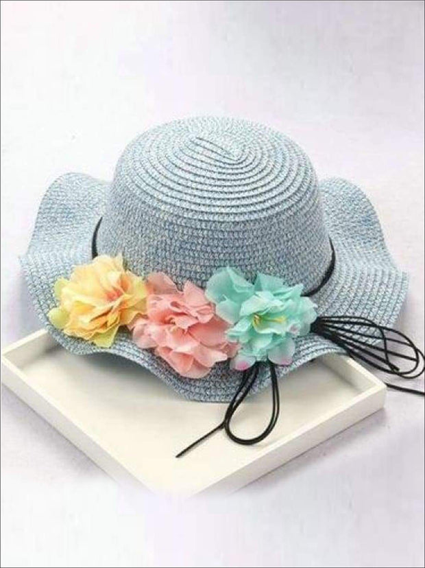 Girls Straw Floral Bow Knot Hat - Blue / 2 to 8 years - Hats & Caps