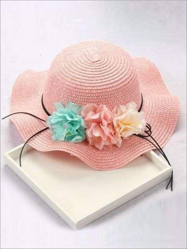 Girls Straw Floral Bow Knot Hat - Blush / 2 to 8 years - Hats & Caps