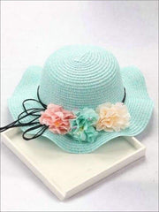 Girls Straw Floral Bow Knot Hat - Mint / 2 to 8 years - Hats & Caps
