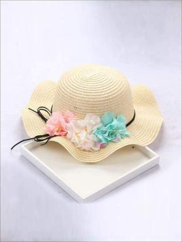 Girls Straw Floral Bow Knot Hat - Yellow / 2 to 8 years - Hats & Caps